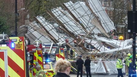 Scaffolding collapsed outside of the Royal Free Hospital. Picture: Ron Vester