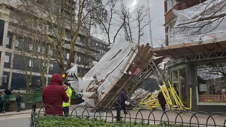 Scaffolding has collapsed outside of the Royal Free Hospital.