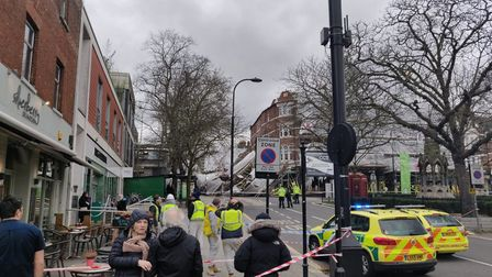 The scene at the Royal Free Hospital, where scaffolding has collapsed. Picture: Cllr Maria Higson
