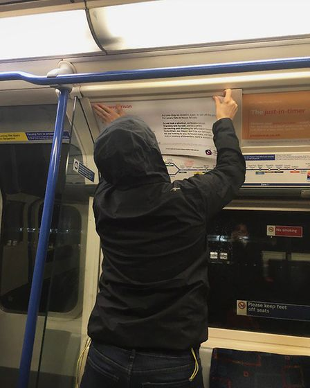 Sisters Uncut stick their poems up on the Tube.