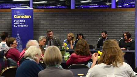 The panel and some of the audience at the EU Make Camden event at Swiss Cottage Library, on Monday M