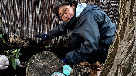 Nazanin's garden - YoungKyung Hahn, who was visiting from Korea, helped plant spring bulbs. Photo: