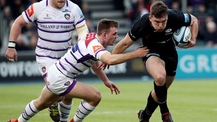 Saracens' Matt Gallagher (right) gets away from Leicester's Ben White (left) during the Gallagher Pr