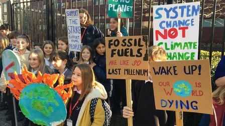 Pupils from Stoke Newington joined the national school strike against climate change. Picture: Sam S