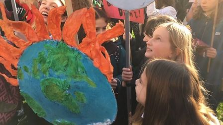 Pupils from Stoke Newington joined the national school strike against climate change. Picture: Rebec