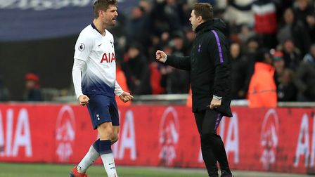 Tottenham Hotspur's Fernando Llorente celebrates scoring his side's second goal of the game with man