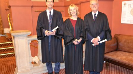Liz Gill (centre) with Erin Wirz and Steve Burry as she became a liveryman of the Stationers. Pictur