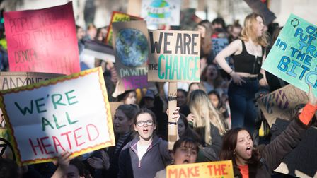 Students from north London joined protest for action on climate change. Picture: PA IMAGES