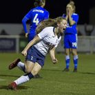 Angela Addison celebrates her late winner for Tottenham Hotspur Ladies against Leicester City Women