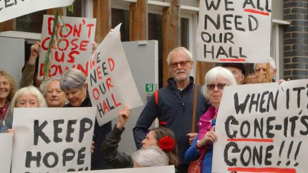 Protesters campaigned outside the community centre after their Thursday morning pilates class. Pictu
