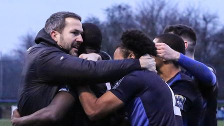 Wingate & Finchley players celebrate their equaliser against Whitehawk (pic: Martin Addison).