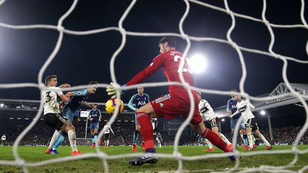 Tottenham Hotspur's Harry Winks (second, left) scores his side's second goal of the game during the