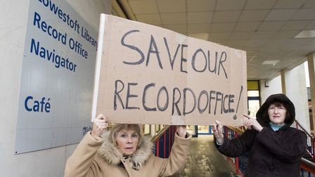 Janis Kirby and Trudie Jackson launch the campaign to save the Lowestoft Record Office. Picture: Nic