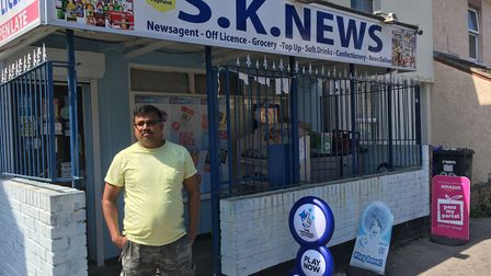 Mr Sivapathasumtharam outside his shop in Lowestoft. Picture: Conor Matchett