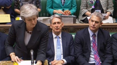 Prime Minister Theresa May, Chancellor of the Exchequer Philip Hammond and Brexit Secretary Stephen