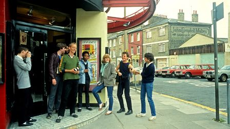 A group of friends outside The Rio Cinema. Picture: Rio Cinema Archive / Alan Denney