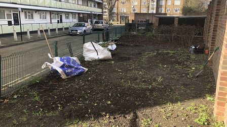 After: The garden has been completely dug up. Picture: Lou Downe