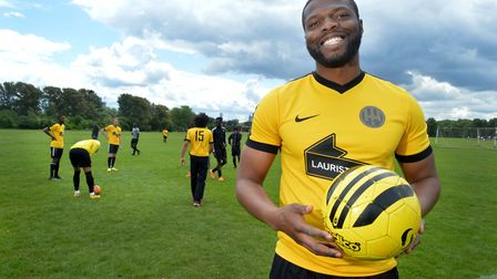 Bobby Kasanga on the football pitches at Hackney marshes.