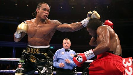 Anthony Yarde (left) and Travis Reeves during the WBO Intercontinental Light-Heavyweight Championshi