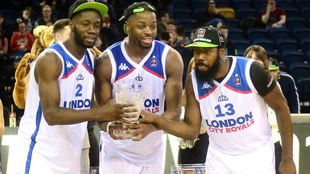 Orlan Jackman (right) celebrates winning the BBL Trophy with the London City Royals (pic Graham Hodg