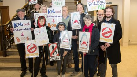Save Barnet Libraries campaigners protest at a council meeting of the Community Leadership and Libra
