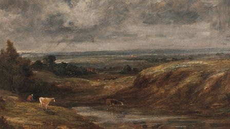 One of John Constable's Branch Hill Pond paintings - complete with cows drinking from the pond. Pict