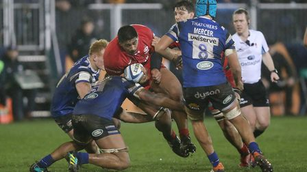 Will Skelton carries the ball forward for Saracens at Bath in the Gallagher Premiership (pic: David