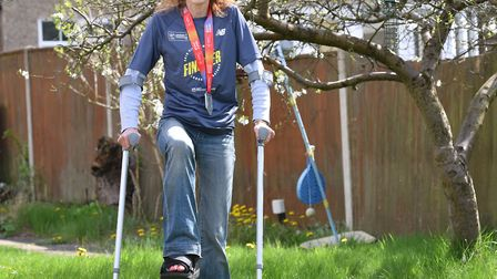 Susan Perry completed the London Marathon after breaking her ankle during the race. Picture: Nick Bu