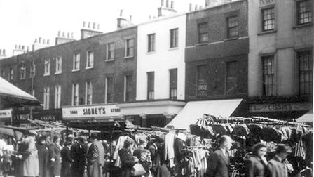 Church Street, south side, showing the entrance to the old Marylebone Theatre, 1953, photograph by R