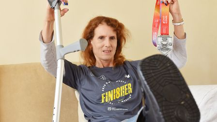 Susan Perry completed the London Marathon after breaking her ankle during the race.Picture: Nick But