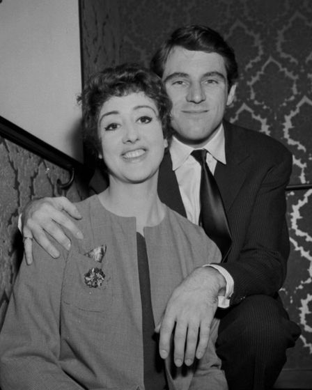 Anthony Newley and Anna Quayle during a rehearsal of the musical 'Stop the World I want to get off'.
