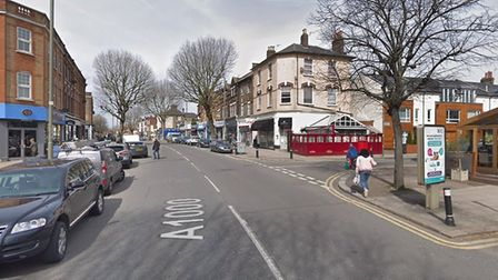 The junction between the High Road and Lincoln Road in East Finchley, where a woman died on Saturday