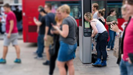 The InLink panel outside Camden Town tube station being used to make a phonecall. Picture: Siorna As