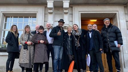Opponents to Overlock Arts licensing application rejoice outside the town hall after the licensing s