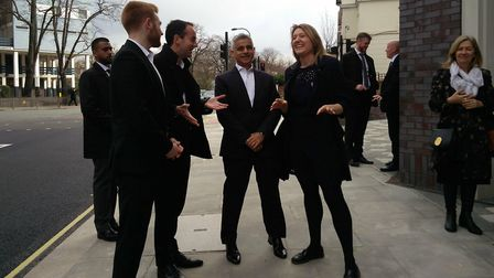 Sadiq Khan meets Cllrs Georgia Gould and Danny Beales with his deputy Mayor James Murray outside of