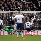 Tottenham Hotspur's Harry Kane scores his side's first goal of the game from the penalty spot during