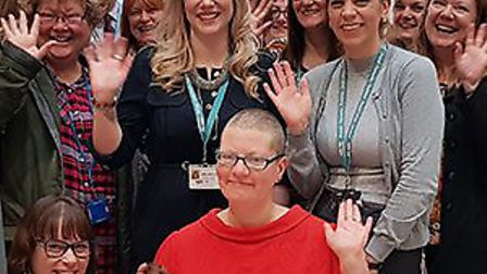 Sara Barratt raised more than 600 with her charity head shave. Photo: Waveney District Council.