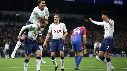 Tottenham Hotspur's Christian Eriksen celebrates scoring his side's second goal of the game during t