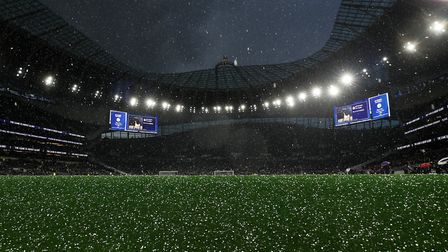 A hailstorm hits the new stadium ahead the Premier League match between Spurs and Crystal Palace at