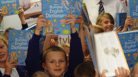 Lowestoft Rotarians organise the Dictionaries 4 Life project to help Year 3 pupils improve literacy.
