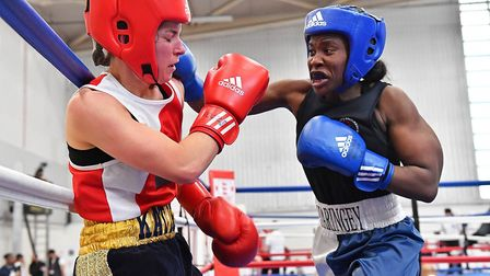 Haringey Police amateur Oriance Lungu goes on the attack (pic: England Boxing)