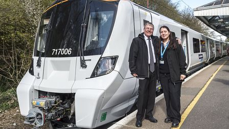 Ian Tweels with Zornitsa Tsankova on the launch date of the new class 717 train. Picture: Great Nort