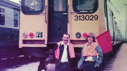 Ian Twells (right) with colleague Reggie Gant and one of the original class 313 trains that were int