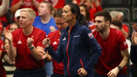 Anne Keothavong, captain of Great Britain, cheers on her side during their Fed Cup tie at University