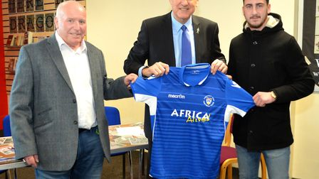 Terry Beamish, director of Lowestoft Town FC, Terry Butcher and Travis Cole, Lowestoft Town FC capta