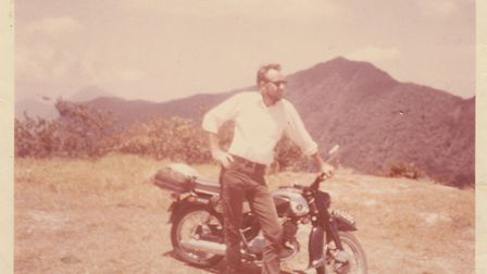 Rainer Bathke on his motorbike in Vietnam. Picture: Barbara Bathke