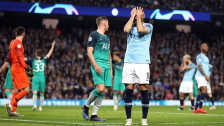 Manchester City's Ilkay Gundogan reacts after a missed chance during the Champions League quarter fi