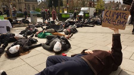 The Muswell Hill Sustainability's Group's die-in on April 13. Picture: Bruce Shayler