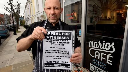 Mario's Café owner Mario Saggese wants to help find the cyclist who broke Deborah Sless's hip. Pictu