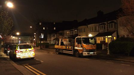 The builder is critically injured in hospital after an incident in Elmfield Avenue yesterday. Pictur